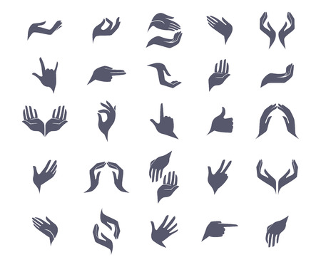 Illustration for Set of open empty flat hands icons with different gestures signs. Vector illustration. Open empty hands holding protect giving gestures icons set isolated vector illustration - Royalty Free Image