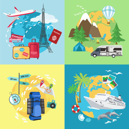 Illustration pour Air tourism. Caravaning and camping tourism. Mountain tourism. Water tourism with ship. Different types of travelling. Flat style design. Vector illustration. - image libre de droit