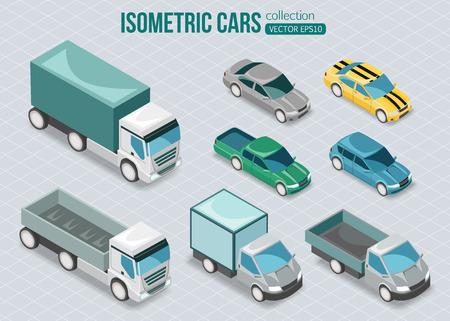 Ilustración de Set of isometric cars. Vector illustration. - Imagen libre de derechos