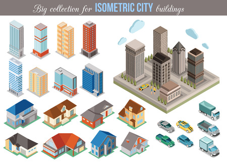 Illustration pour Big collection for isometric city buildings. Set of 3d isometric cars, tall buildings and private houses icons for map building. Real estate concept. Vector illustration. - image libre de droit