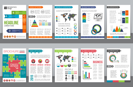 Ilustración de Set of corporate business stationery brochure templates with infographics elements. Abstract geometric background for flyer, report, presentation or business document design. Vector illustration. - Imagen libre de derechos