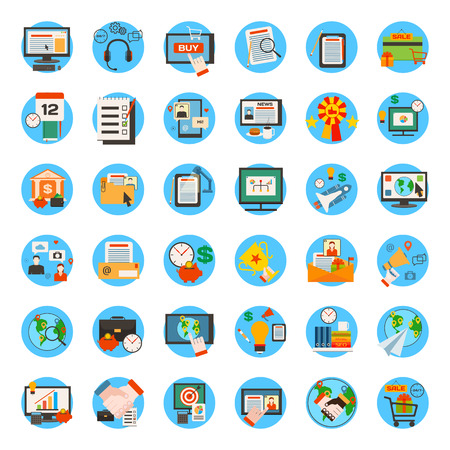 Foto de Mega collection of business, marketing, office and seo optimisation icons. Flat style design. Vector illustration. - Imagen libre de derechos