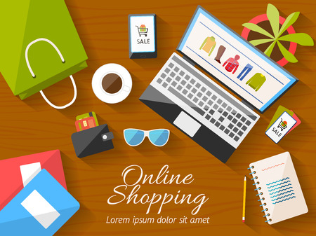 Illustration pour Online shopping concept desktop with computer, wooden table, shopping bag, mobile phone, notebook, flower, sunglusses, wallet, cup of coffee, credit cards, coupons. Vector illustration. - image libre de droit