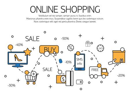 Ilustración de Online shopping  outline concept of purchasing process in online store. Vector illustration. - Imagen libre de derechos