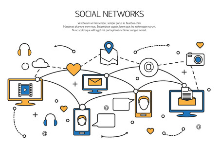 Photo pour Social network outline concept of communication process in internet, mobile phones, computers. Vector illustration. - image libre de droit