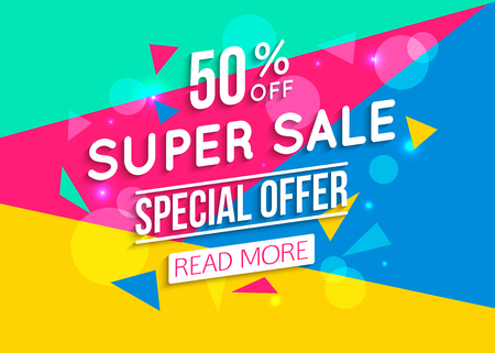 Illustration pour Super Sale shining banner on colorful background. Geometric design. Super Sale and special offer. 50% off.  - image libre de droit