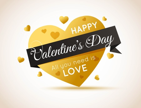 Happy Valentines Day Flyer. Gold Heart with Ribbon.Template for creating Advertising Banner, Brochure, Booklet, Poster, Sale leaflet, Sale Flyers Discount. Be My Valentine. Love Background. All You Need is Love