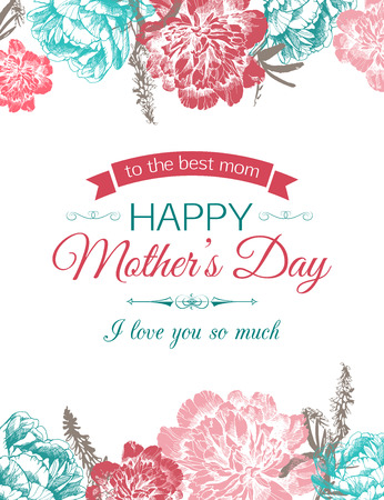 Illustration pour Happy Mothers Day Typographical Background With Hand Drawn Peonies and Place for Text. - image libre de droit
