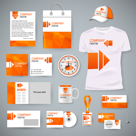 Illustration pour Corporate identity business photorealistic design template. Classic blue stationery template design. Watch, T-shirt, cap, flag, package and Documentation for business. Vector illustration. - image libre de droit