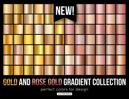 Illustration pour Rose gold gradient collection. Trend colors. Vector metal texture. - image libre de droit