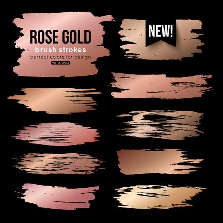 Ilustración de Grunge gold ink brush strokes vector collection - Imagen libre de derechos