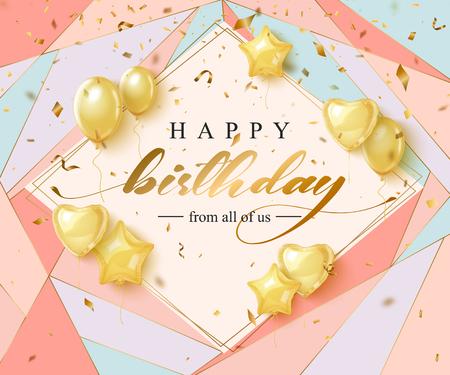 Ilustración de Happy Birthday celebration typography design for greeting card - Imagen libre de derechos