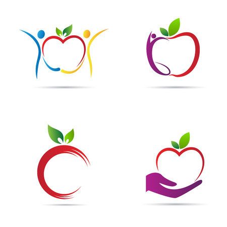 Ilustración de Apple logo vector design represents back to school, healthy life and fruit shop logo concept. - Imagen libre de derechos