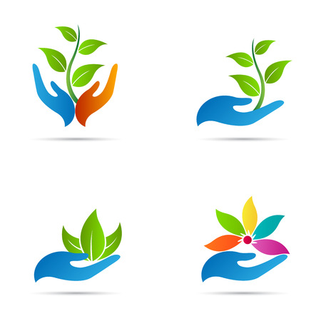 Illustration for Hand with leaf vector design represents save nature, ecology, green care and spa. - Royalty Free Image