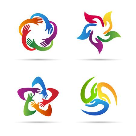 Illustration pour Abstract hands vector design represents teamwork, unity, signs and symbols. - image libre de droit