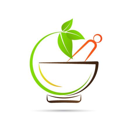 Ilustración de Mortar and pestle vector design represents herbal medicine, pharmacy logo, signs and symbols. - Imagen libre de derechos
