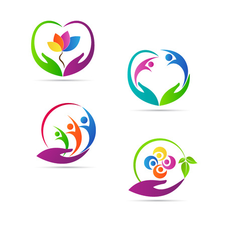 Illustration pour Care logos vector design represents family, child and senior care concept. - image libre de droit