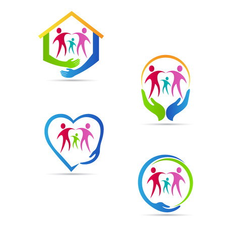 Photo for Care people logo vector design represents family, disabled, child, senior care concept. - Royalty Free Image