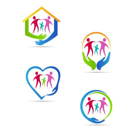 Illustration pour Care people logo vector design represents family, disabled, child, senior care concept. - image libre de droit