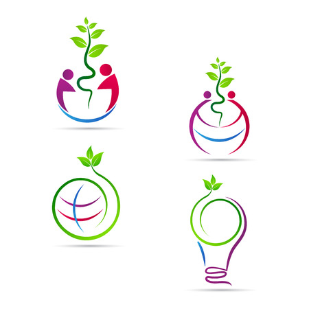 Illustration for Save nature vector design represents ecology, eco nature, save green concept. - Royalty Free Image