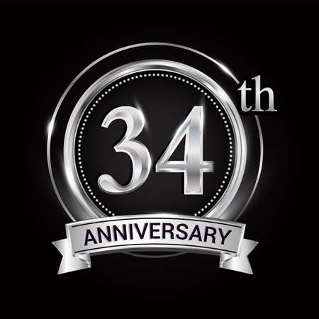 34th silver anniversary logo with ribbon and ring