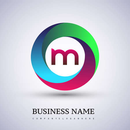 Letter M logo with colorful splash background, letter combination logo design for creative industry, web, business and company.