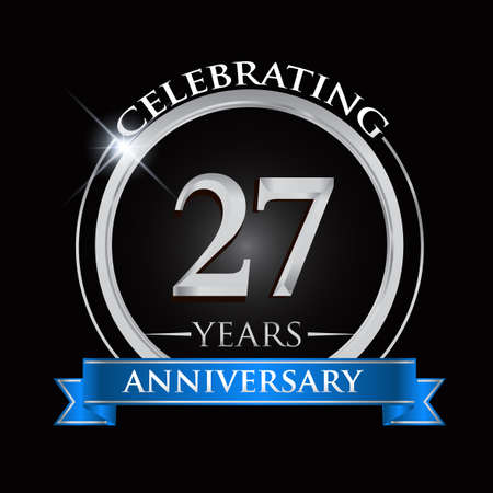 Celebrating 27 years anniversary logo. with silver ring and blue ribbon.