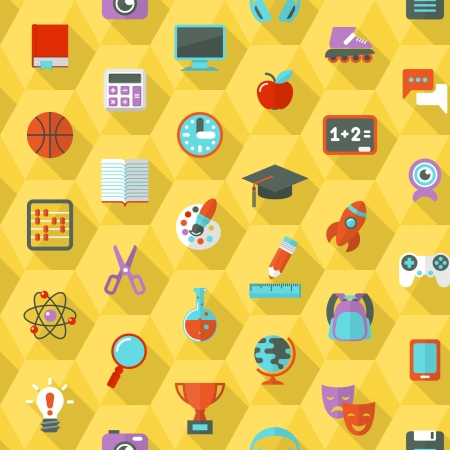 Seamless pattern of flat education and leisure symbols in hexagons with long shadows