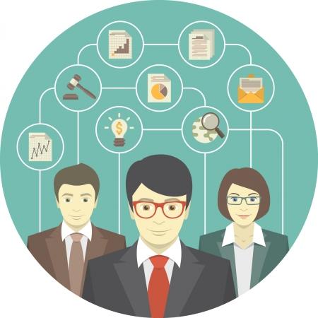 Illustration pour Conceptual illustration of the teamwork of professionals - image libre de droit