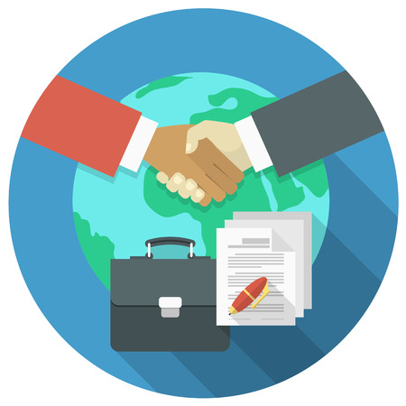 Illustration pour Conceptual illustration of international business cooperation and partnership - image libre de droit