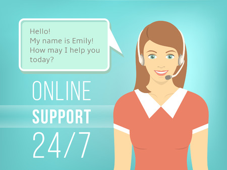 Illustration pour Modern flat vector illustration of young pretty girl, employee of call center support and help service with headphones and speech bubble for chat with visitors of web site. Helpdesk online concept. - image libre de droit
