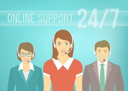 Illustration pour Modern flat vector illustration of young employees of call center support and help service, women and man, with headphones and inscription. Help desk online concept. - image libre de droit