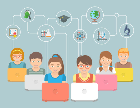Foto de Modern flat conceptual vector illustration of group of kids with notebooks and education icons. Internet education innovative technology concept. Early education online program. Elearning concept - Imagen libre de derechos