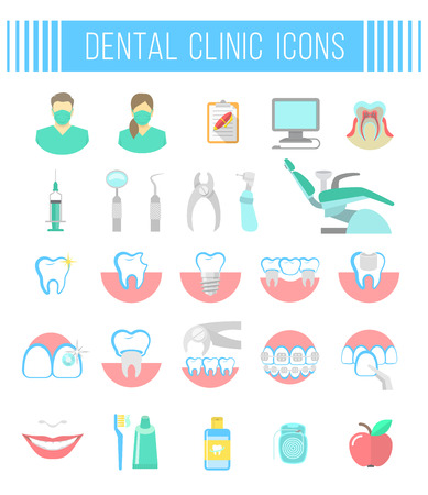 Illustration pour Set of modern flat vector conceptual icons of dental clinic services, stomatology, dentistry, orthodontics, oral health care and hygiene, tooth restoration, dental instruments. Isolated on white - image libre de droit