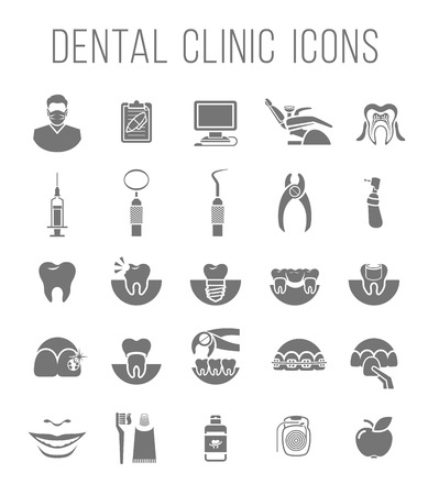 Set of modern flat silhouette vector conceptual icons of dental clinic services, stomatology, dentistry, orthodontics, oral health care and hygiene, tooth restoration, dental instruments and tools