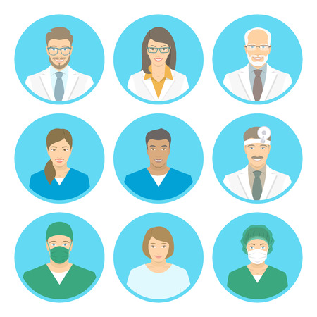 Illustration pour Medical clinic staff flat avatars of doctors, nurses, surgeon, assistant, patient. Vector round portraits, account profile pictures, male and female. Hospital personnel multiracial faces - image libre de droit