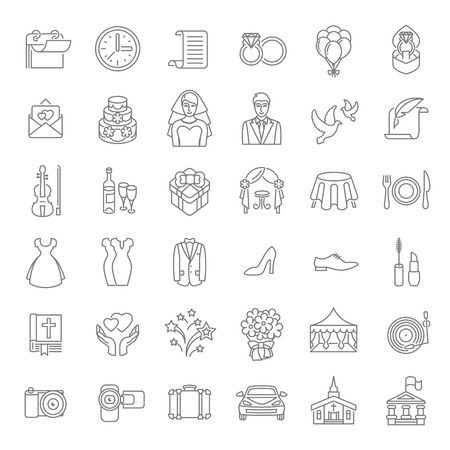 Foto de Set of modern flat linear vector wedding icons. Line art conceptual symbols of wedding party for web site, mobile or computer apps, infographic, presentation, promotional materials - Imagen libre de derechos