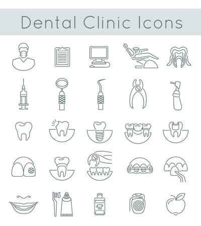 Illustration pour Flat thin line vector conceptual icons of dental clinic services, stomatology, dentistry, orthodontics, oral health care and hygiene, tooth restoration and dental instruments. Linear design elements - image libre de droit