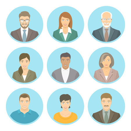 Ilustración de Business people vector flat avatars, women and men, in suits and casual clothes. Male and female profile icons of different ages and lifestyle. Attractive friendly multiracial faces at round portraits - Imagen libre de derechos