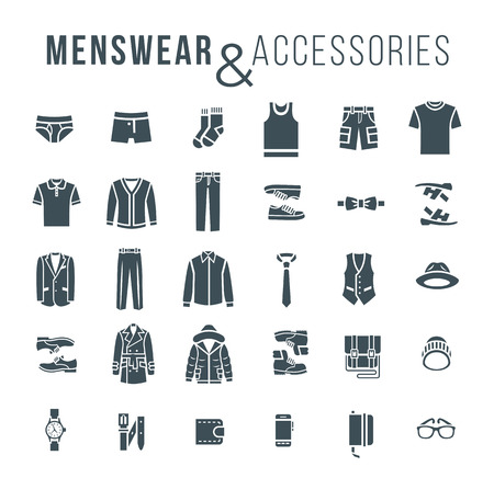 Illustrazione per Men fashion clothing and accessories flat outline vector icons. Silhouettes objects of male outfit clothes, underwear, shoes and every day essentials for any season. Modern urban casual style elements - Immagini Royalty Free