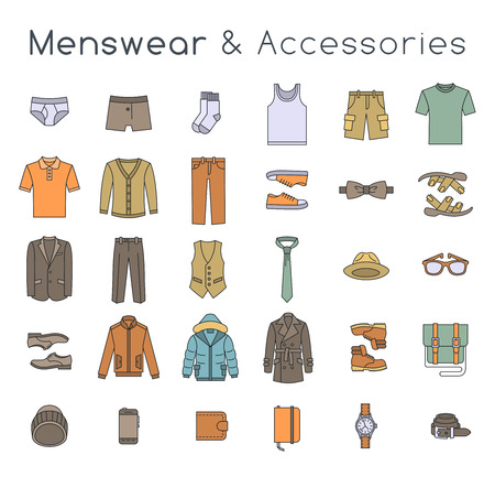 Illustrazione per Men fashion clothing and accessories flat line vector icons. Linear objects of male outfit clothes, underwear, shoes and every day essentials for any season. Modern urban casual style elements for man - Immagini Royalty Free