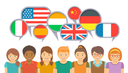 Illustration pour International kids communication in different languages. Happy smiling children in language school with speech bubbles and flags of different countries. Flat illustration on white background - image libre de droit