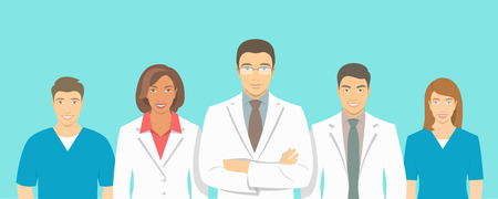 Illustrazione per Medical clinic doctors team flat illustration. Group of healthcare specialists, physicians and nurses, men and women in white coats. Hospital staff horizontal background. Medical counseling - Immagini Royalty Free
