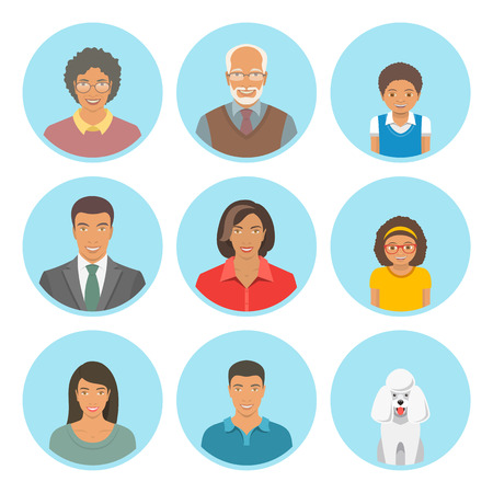 Illustration for African American family faces flat avatars set. Icons of three family generations, mother and father, sons and daughters, grandmother, grandfather and a dog. Black family portraits - Royalty Free Image