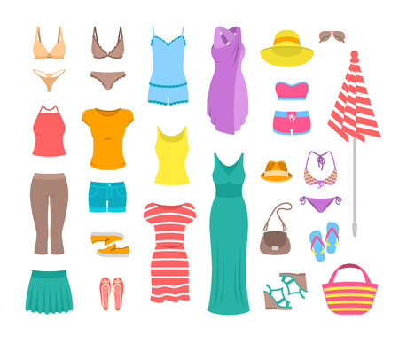 Illustrazione per Summer female outfit flat icons. Women clothes and accessories collection for summer vacation. Casual fashion infographic elements. Basic tops, skirt, shorts, shoes, dresses, beach clothing - Immagini Royalty Free