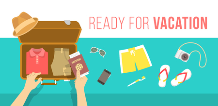 Illustration pour Summer vacation vector flat illustration. Packing beach stuff for summer time travel. Man puts in suitcase summer clothes, swim shorts, flip-flops, hat, glasses, camera and passport. Top view banner - image libre de droit