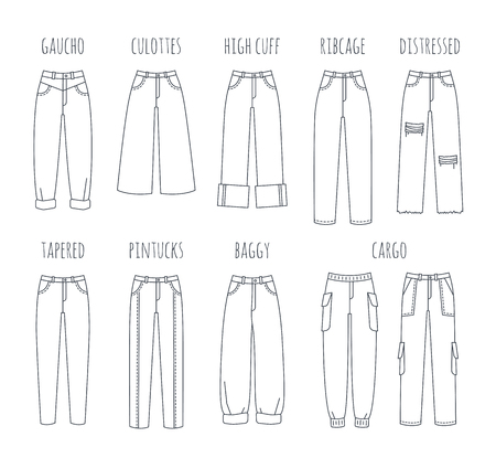 Illustration pour Trendy women jeans styles collection. Vector flat thin line icons of modern denim pants for fashionable girl. Outline illustration of trousers isolated on white. Infographic elements - image libre de droit