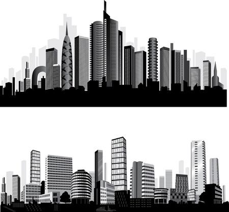 Illustration pour The best City silhouettes. Set.  - image libre de droit