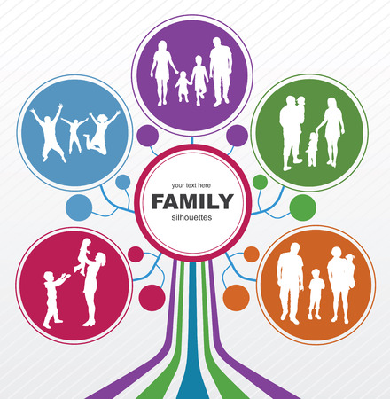 Photo for Family concept background  Abstract tree with family silhouettes   - Royalty Free Image