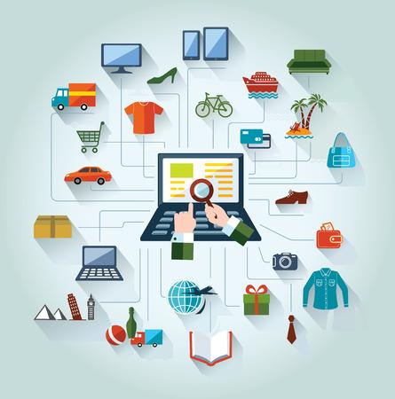 Ilustración de Flat and web design banner  Online shopping and business  Conceptual background   - Imagen libre de derechos